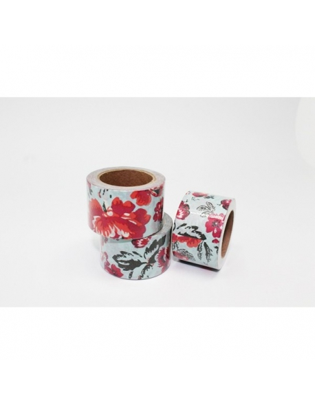 Washi tape flores rosas 30 mm. x 10 m.