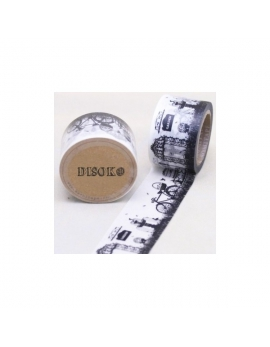 Washi tape ancho blanco y negro vintage