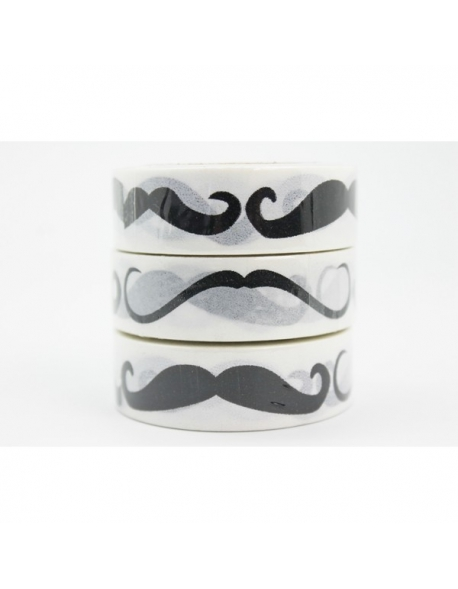 Washi tape mostache 15 mm x 10 m.
