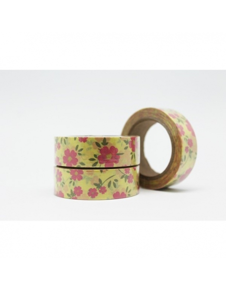 Washi tape margaritas rosas 15 mm. x 10 m.