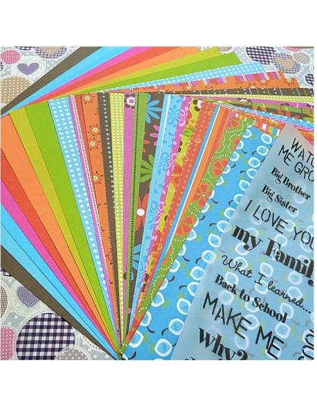 Set de 25 papeles para Scrap colores