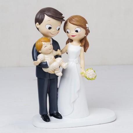 Figura tarta novios con bebe