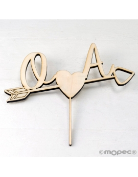 Cake topper iniciales cupido