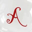 Transparente letras rojas