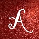 Rojo brillantina letras blancas