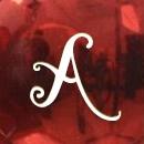 Rojo brillo letras blancas